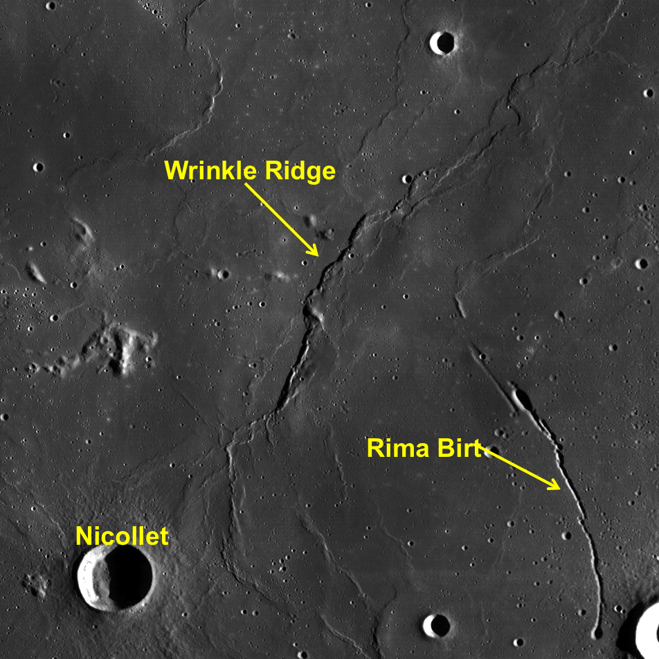 LROC WAC context image of wrinkle ridge.