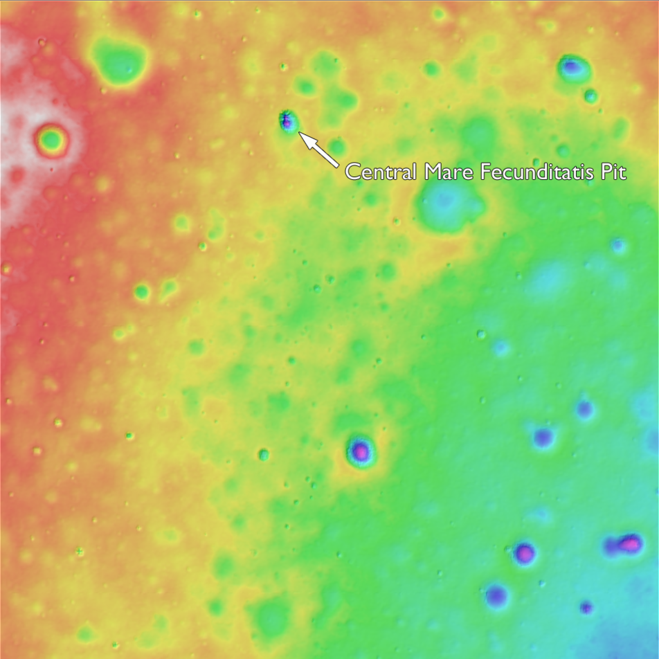 Color shaded elevation map of the central mare Fecunditatis pit