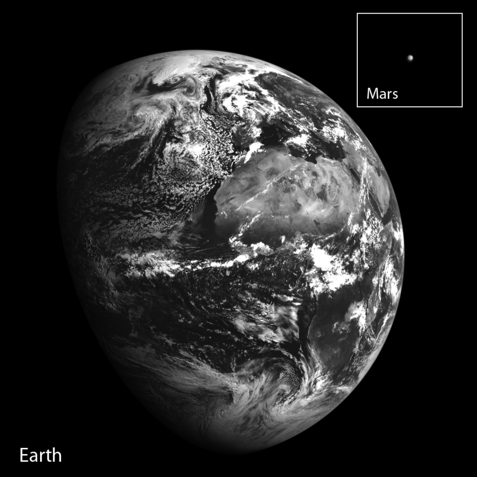 Earth and Mars from LRO