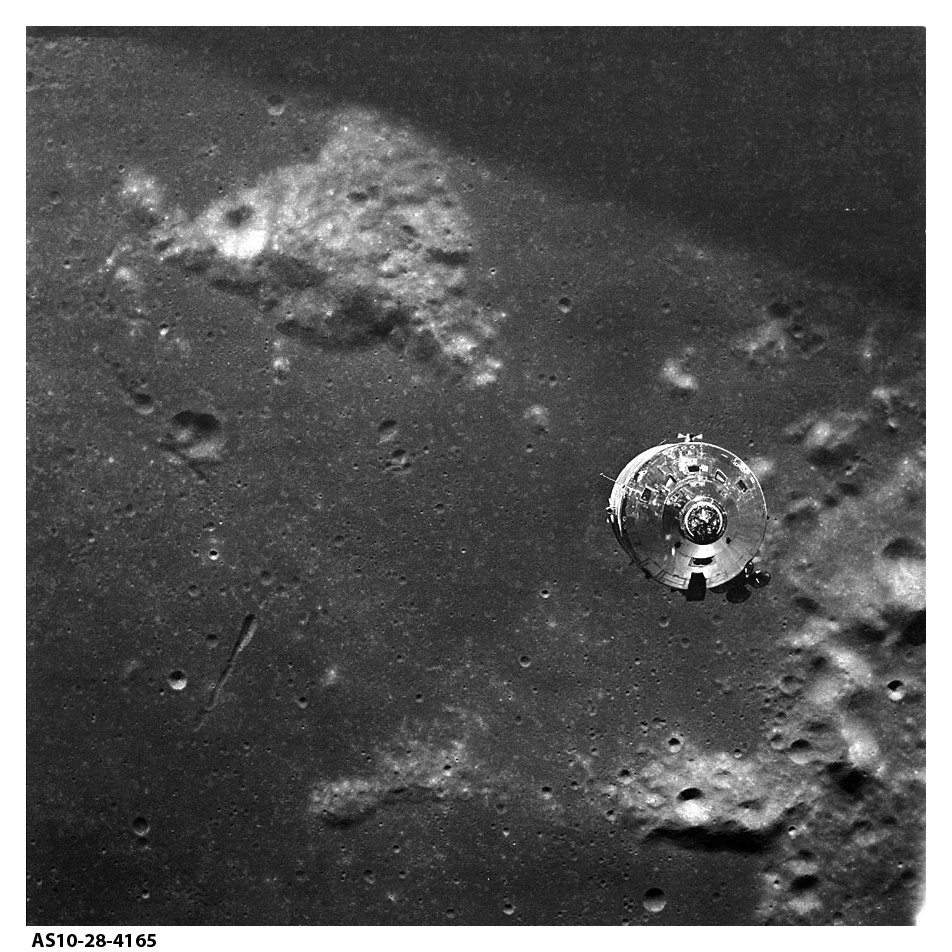 Apollo 10 photograph showing Command Module and Mt. Marilyn