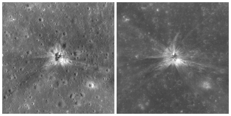 Two LROC Images of AS16 S-IVB crater