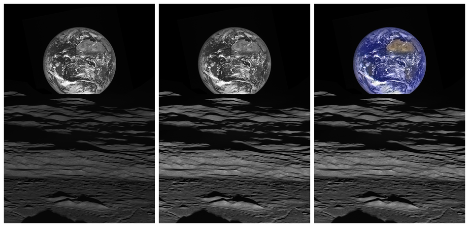 Three versions of Earth Moon image