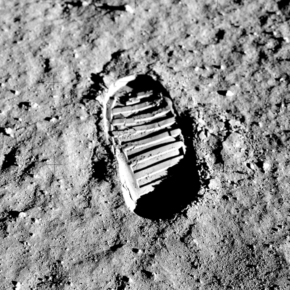 Apollo 11 boot print in regolith