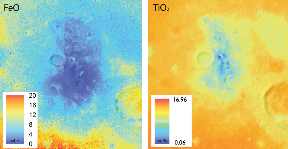 Clementine color maps of FeO and TiO2 abundance