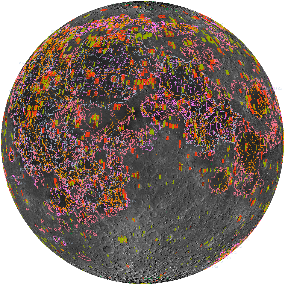 various colorful shapes overlaid on an orthographic projection of the Moon