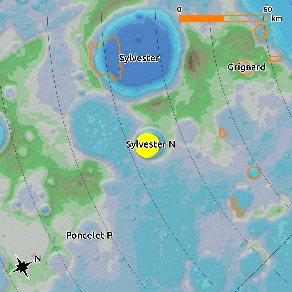 Yellow shape indicating the location of the PSR inside of Sylvester N in the center. It is overlaid on a WAC DEM Colorshade with outlines of other PSRs and a scale bar showing length of 50 km.