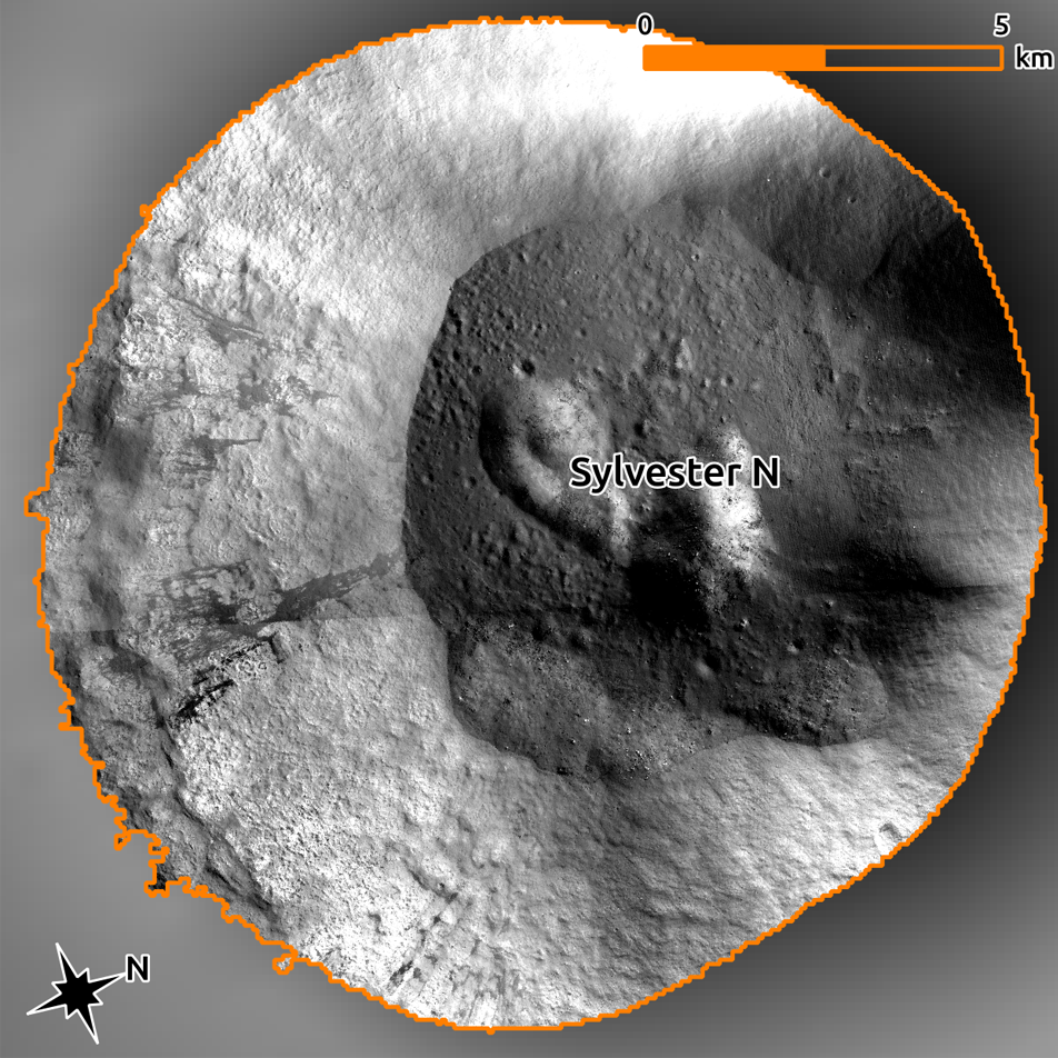 Mosaic of the PSR in Sylvester N crater made from long exposure images stretched to see the interior.