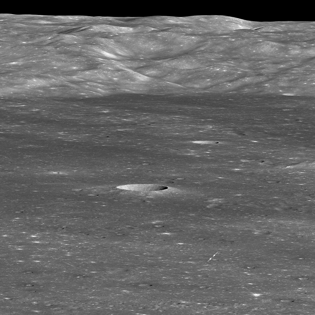 East to west limb view of Von Kármán crater