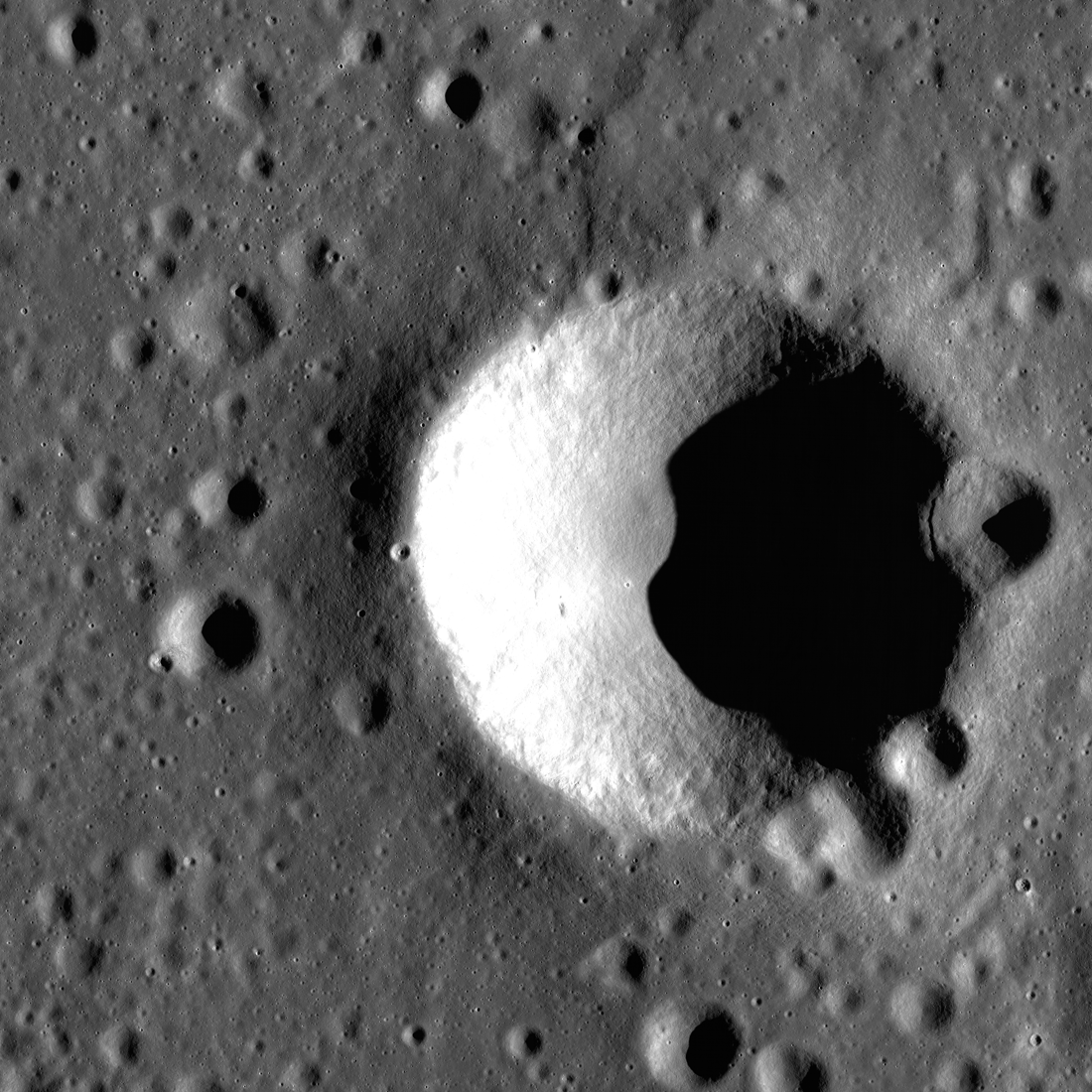 Blagg crater sits astride a wrinkle ridge.