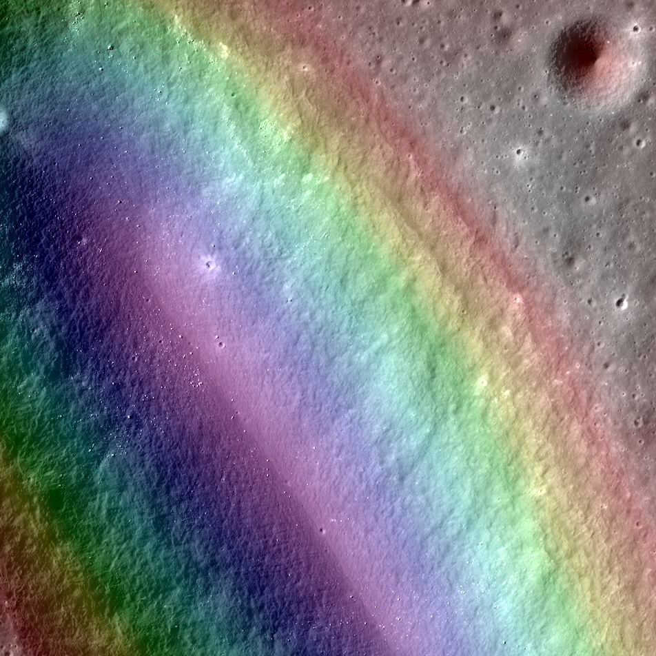LROC NAC image overlaid with color slope map