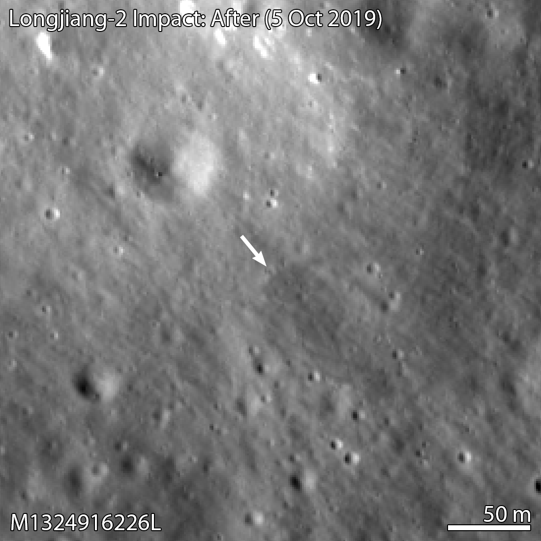 LROC NAC image of new crater, likely from Longjiang 2 impact