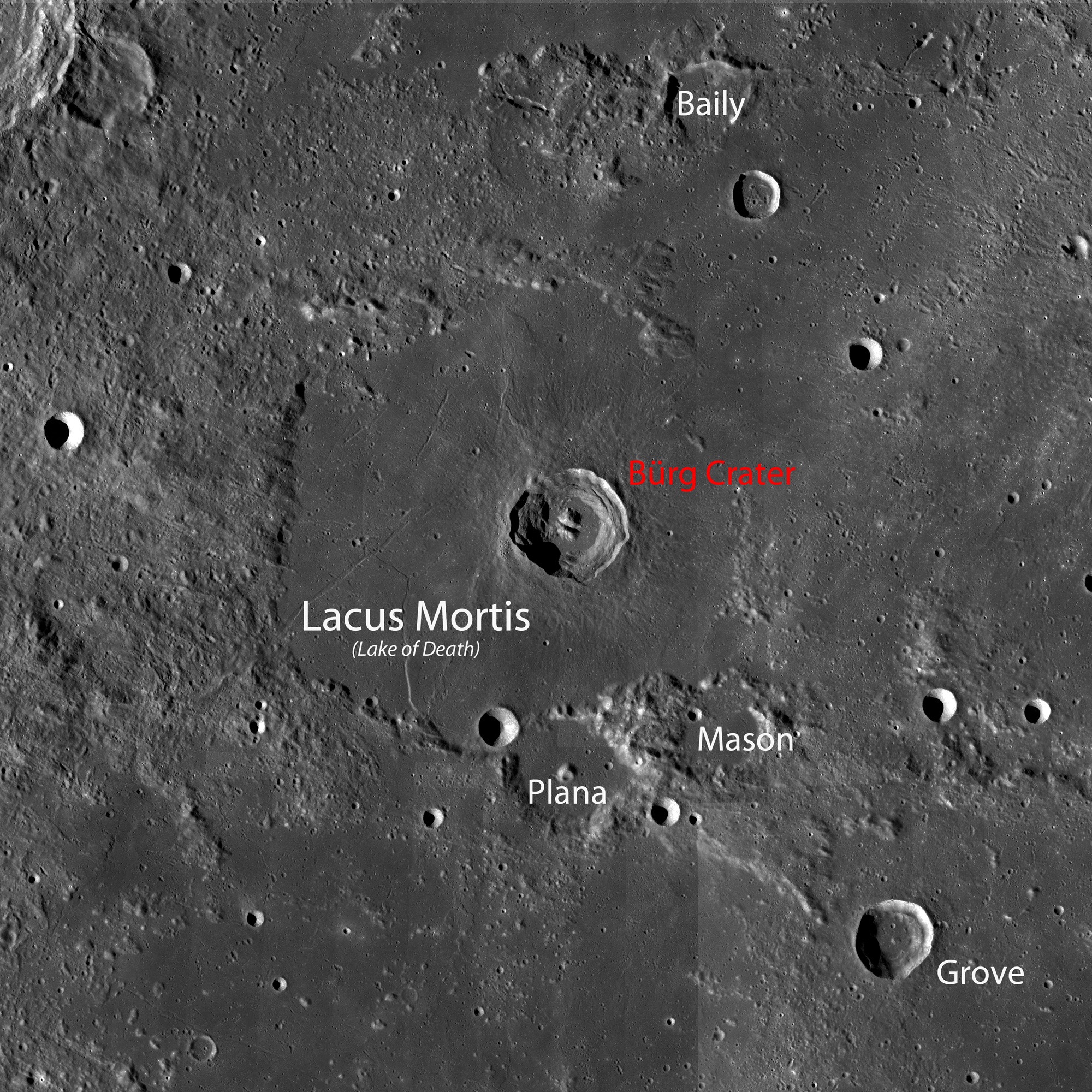 WAC mosaic of the region of Lacus Mortis. Image is ~360 km across ...