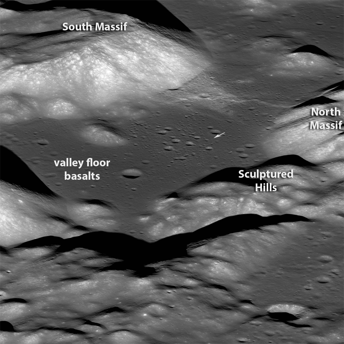 Annotated east-to-west Taurus Littrow oblique