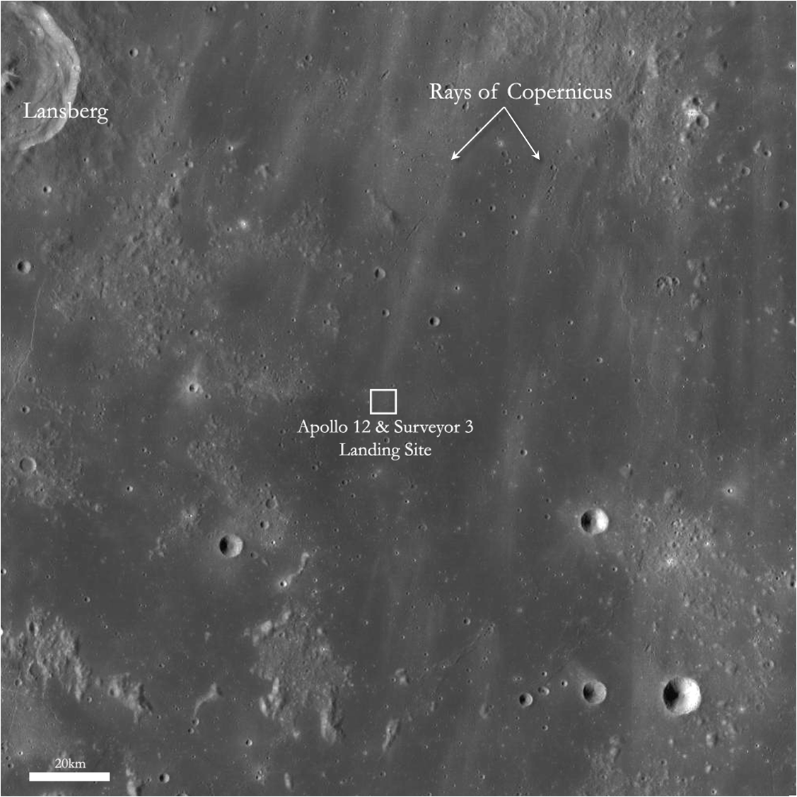 Surveyor 3 crater, LROC WAC