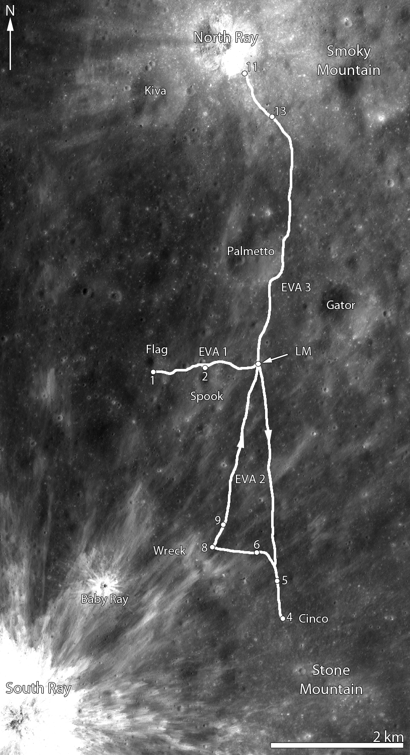 LROC Apollo 16 Traverse Map