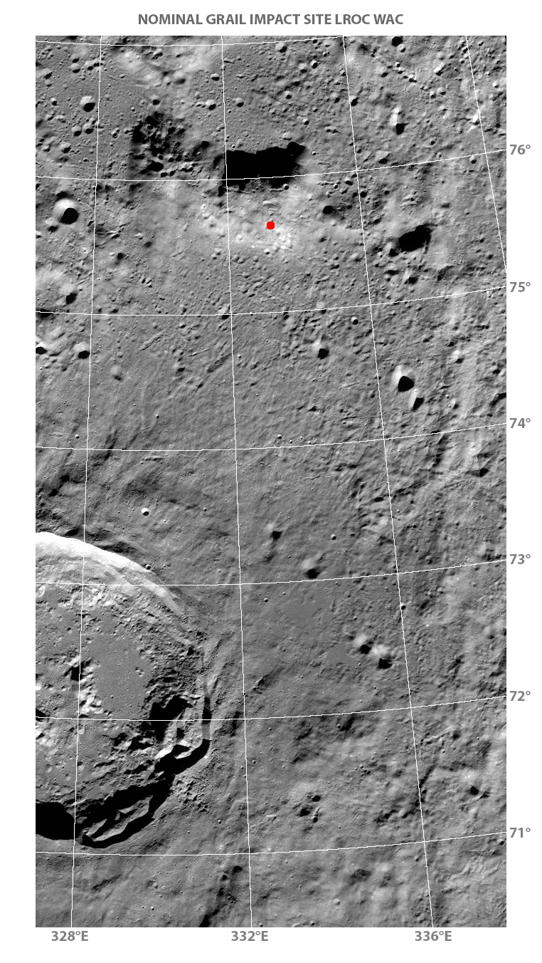 LROC WAC mosaic of GRAIL Impact Site